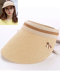 Fashion Beige Bowknot Decorated Hand-woven Sun Hat