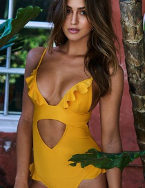Sexy Yellow Pure Color Design Hollow Out Swimwear