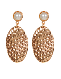 Fashion Gold Color Oval Shape Decorated Pure Color Earrings