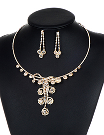 Fashion Gold Color Full Diamond Decorated Jewelry Sets