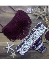 Sexy Purple Flowers&tassel Decorated Bikini