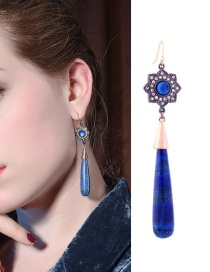 Fashion Blue Flowers Decorated Long Earrings