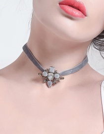 Fashion Gray Flowers Decorated Simple Necklace