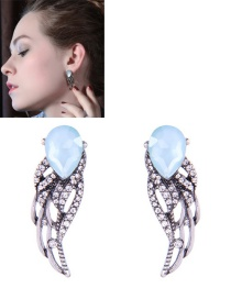 Fashion Silver Color Wings Shape Decorated Earrings