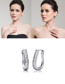 "Fashion Silver Color ""u"" Shape Decorated Earrings"