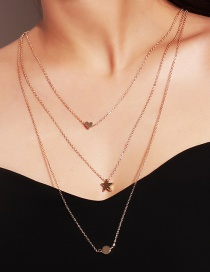 Fashion Gold Color Star Shape Pendant Decorated Necklace