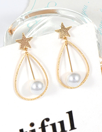 Fashion Gold Color Pearls Decorated Stars Shape Earrings