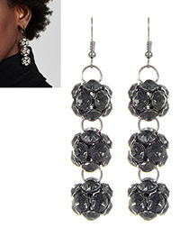 Fashion Gray Balls Shape Design Long Earrings