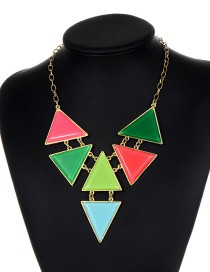 Fashion Multi-color Triangle Shape Decorated Necklace
