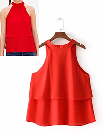 Fashion Red Off-the-shoulder Shape Decorated Blouse