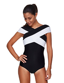 Sexy Black+white Color Matching Design Cross Shape Swimwear