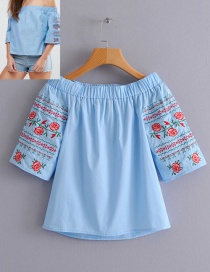Fashion Blue Embroidery Flower Design Strapless Blouse