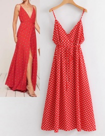 Fashion Red Dots Shape Pattern Design V Neckline Dress