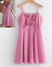 Fashion Pink Bowknot Shape Decorated Grid Suspender Dress