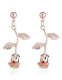 Fashion Rose Gold Rose Shape Design Pure Color Earring