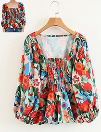 Fashion Multi-color Flower Shape Pattern Decorated Blouse