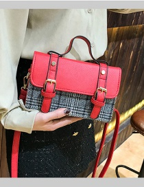 Fashion Red Grid Shape Decorated Bag