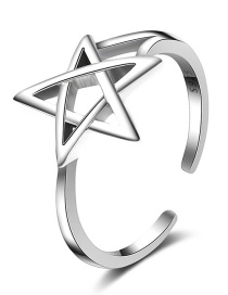 Fashion Silver Color Star Shape Design Pure Color Ring