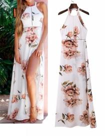 Fashion White Flower Pattern Decorated Dress