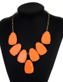 Fashion Orange Waterdrop Shape Design Necklace