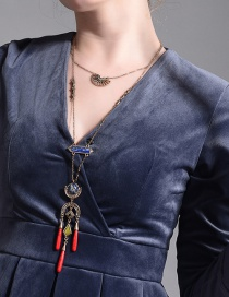 Fashion Red Geometric Shape Decorated Tassel Necklace