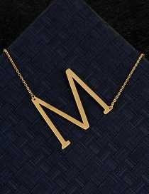 Fashion Gold Color M Letter Shape Decorated Necklace