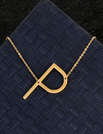 Fashion Gold Color P Letter Shape Decorated Necklace