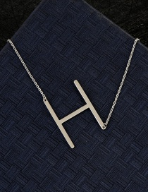 Fashion Silver Color H Letter Shape Decorated Necklace