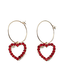 Fashion Gold Color +red Heart Shape Decorated Earrings
