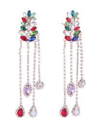 Fashion Multi-color Full Diamond Decorated Multi-color Earrings