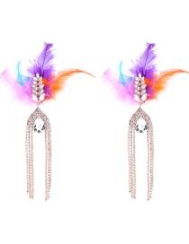 Fashion Multi-color Waterdrop Shape Decorated Tassel Earrings