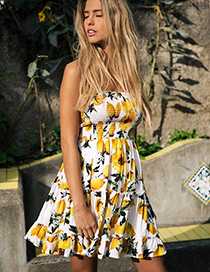 Fashion Yellow Mango Pattern Decorated Dress