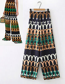 Fashion Multi-color Geometry Pattern Decorated Trousers