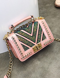 Fashion Pink V Shape Pattern Decorated Shoulder Bag