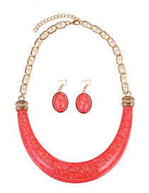Fashion Red Pure Color Decorated Jewelry Set (3 Pcs )