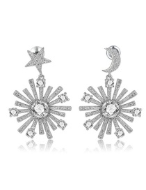 Fashion Silver Color Star&moon Shape Decorated Earrings