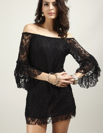 Fashion Black Pure Color Decorated Off The Shoulder Dress