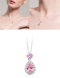 Fashion Pink Water Drop Shape Diamond Decorated Necklace