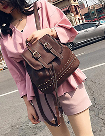 Fashion Brown Rivet Decorated Backpack