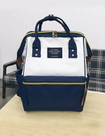 Fashion Blue+white Zipper Decorated Backpack