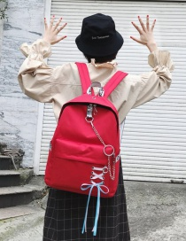 Fashion Red+white Circular Ring Decorated Backpack