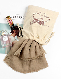 Fashion Khaki Tassel Decorated Pure Color Scarf(with Bag)
