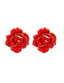 Fashion Red Rose Shape Design Pure Color Earrings