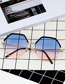 Fashion Light Blue Polygon Shape Design Sunglasses