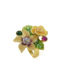 Fashion Yellow Flowers Shape Decorated Ring