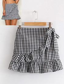 Fashion Black+white Grid Pattern Decorated Simple Skirt