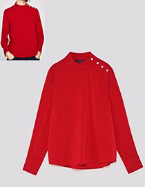 Fashion Red Pure Color Design Long Sleeves Blouse