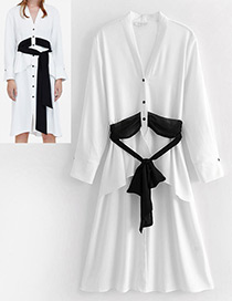 Fashion White Belt Decorated V Neckline Dress