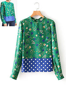 Fashion Green Flower&dots Pattern Decorated Shirt