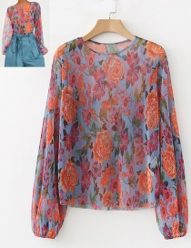 Fashion Blue+red Flower Pattern Decorated Blouse